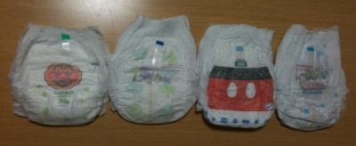 紙オムツ(BIGパンツ)左から GENKI、メリーズ、マミーポコ、グーン