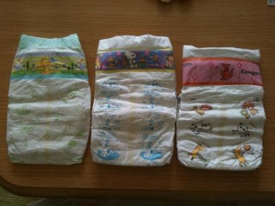 紙オムツ(Lサイズテープ)左から ムーニー、ウルトラプラス、グーン