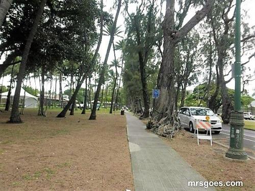 カラカウア通りに沿った小道
