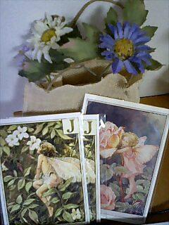 花バッグとポストカード