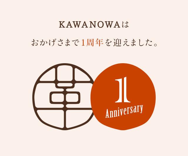KAWANOWAはおかげさまで1周年を迎えました