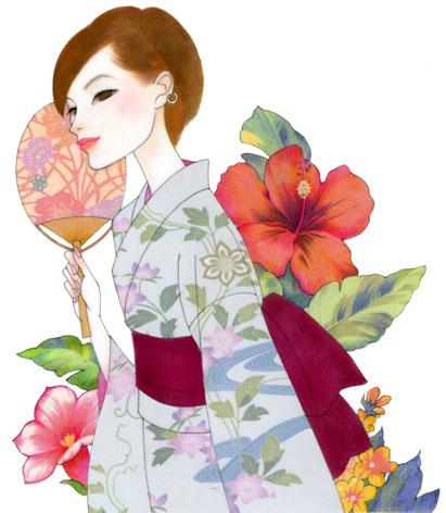 夏の着物/ゆかた/ファッションイラスト