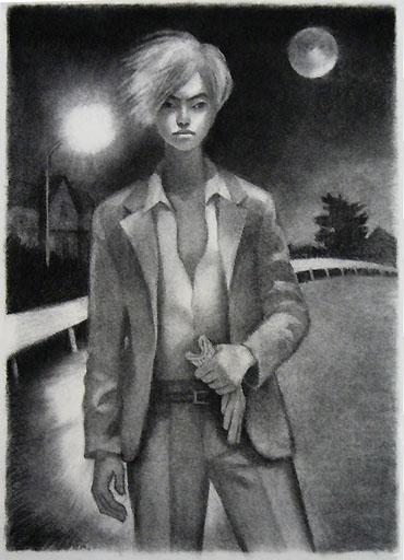 アート/オリジナル作品/木炭画B3サイズ