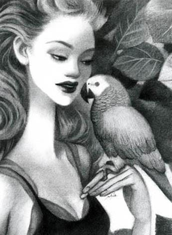 アート/青い鳥/木炭画A3