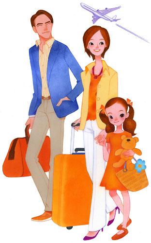 家族イラスト/海外旅行