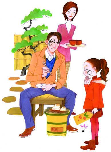 家族イラスト/七輪とお正月/ニッキン
