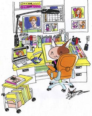 イラストレーターの仕事部屋