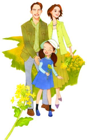 ニッキン/家族イラスト/菜の花畑