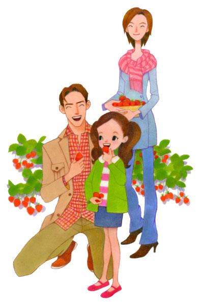 イチゴ狩りニッキン家族イラスト