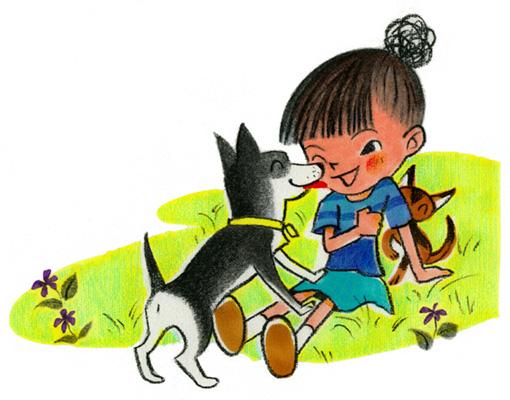 絵本イラスト.女の子と犬