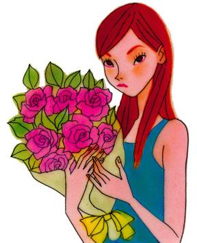 女性と花束イラスト