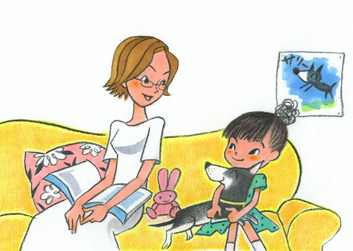絵本イラスト.女の子とお母さん