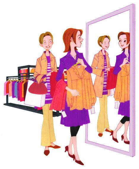 女性イラスト.買い物