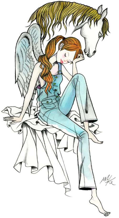 少女と馬イラストレーションmako