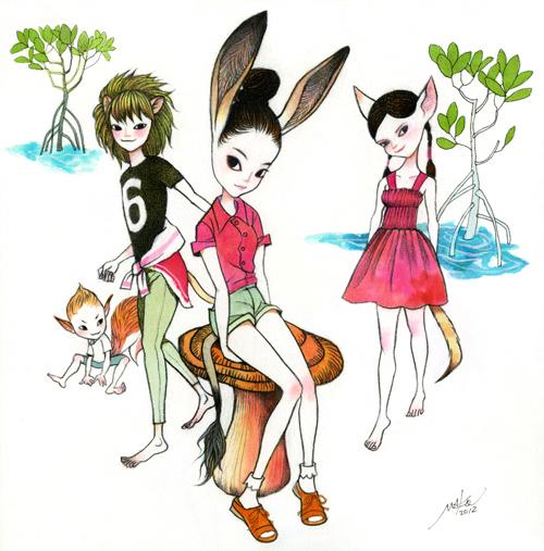 ロバ女の子makoイラスト、少女、少年、子供