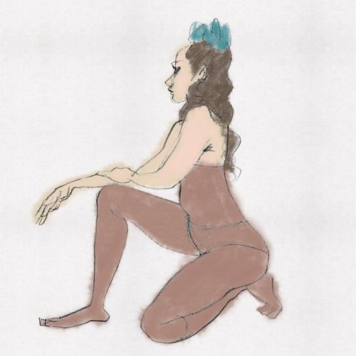 ヌードデッサン、踊り子イラスト、mako