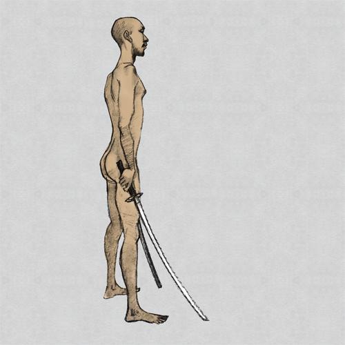 男ヌード、makoイラスト、刀
