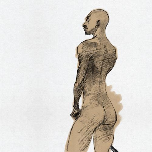 男ヌードデッサン、makoイラスト、刀