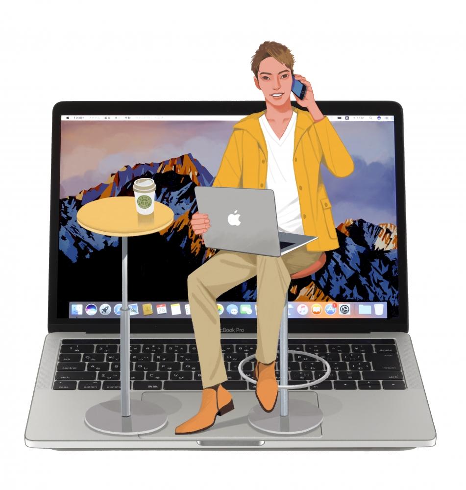 macイラスト、ファッション、ノートパソコン、男性