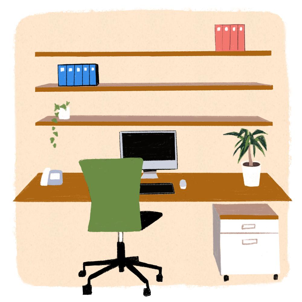 仕事部屋イラスト、デスク、makoイラスト