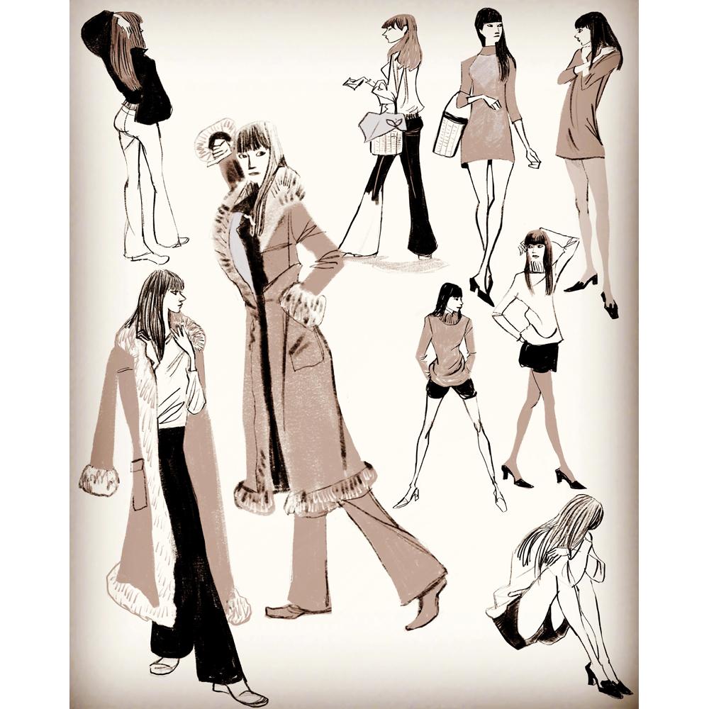 ファッションイラスト、女性のコートイラスト、おしゃれな人