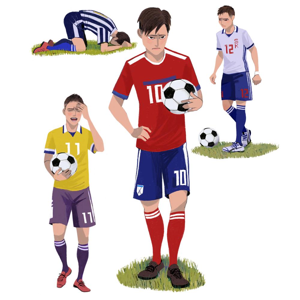 サッカーイラスト、高校生、男子