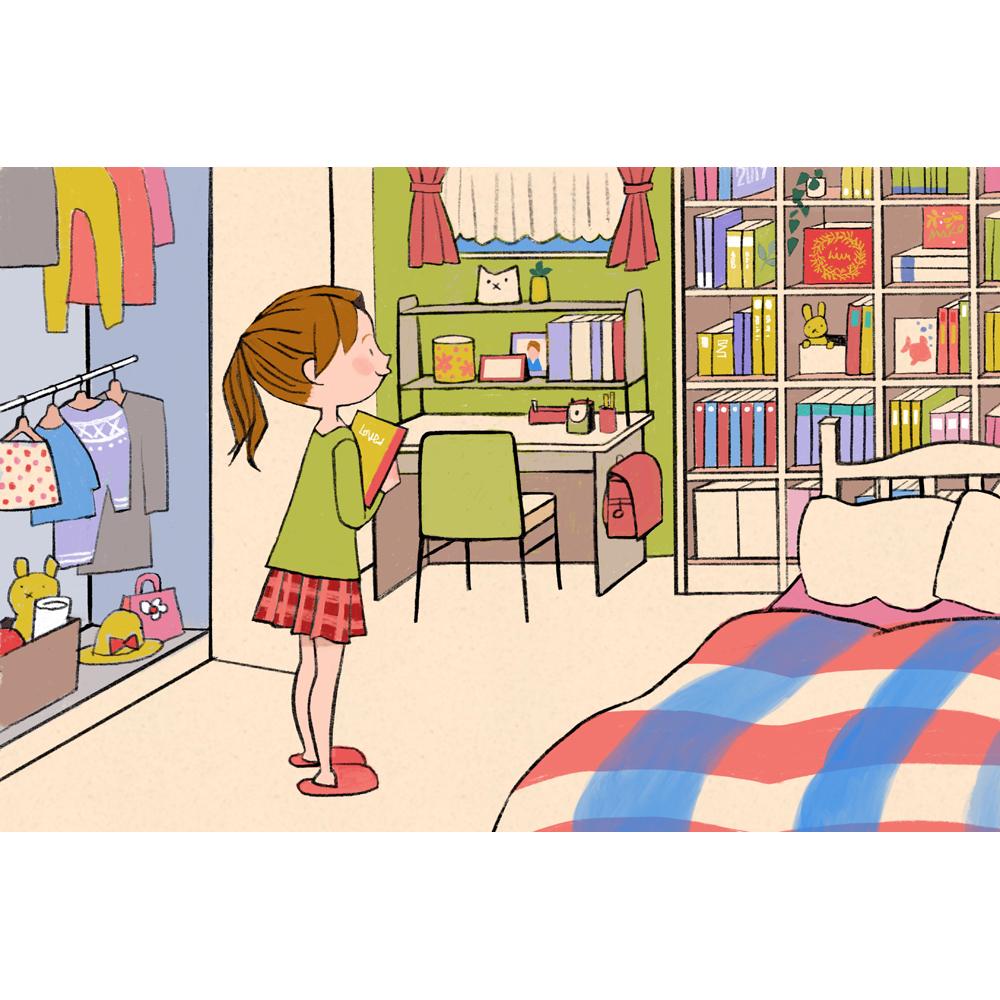 小学生イラスト 本棚 子供部屋 makoイラスト