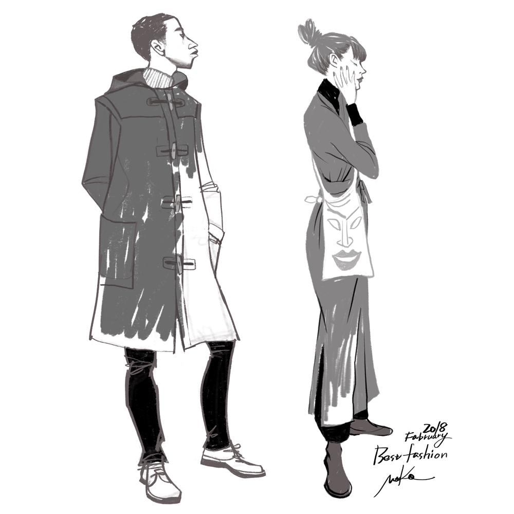ファッションイラスト、procreate、冬服、男女