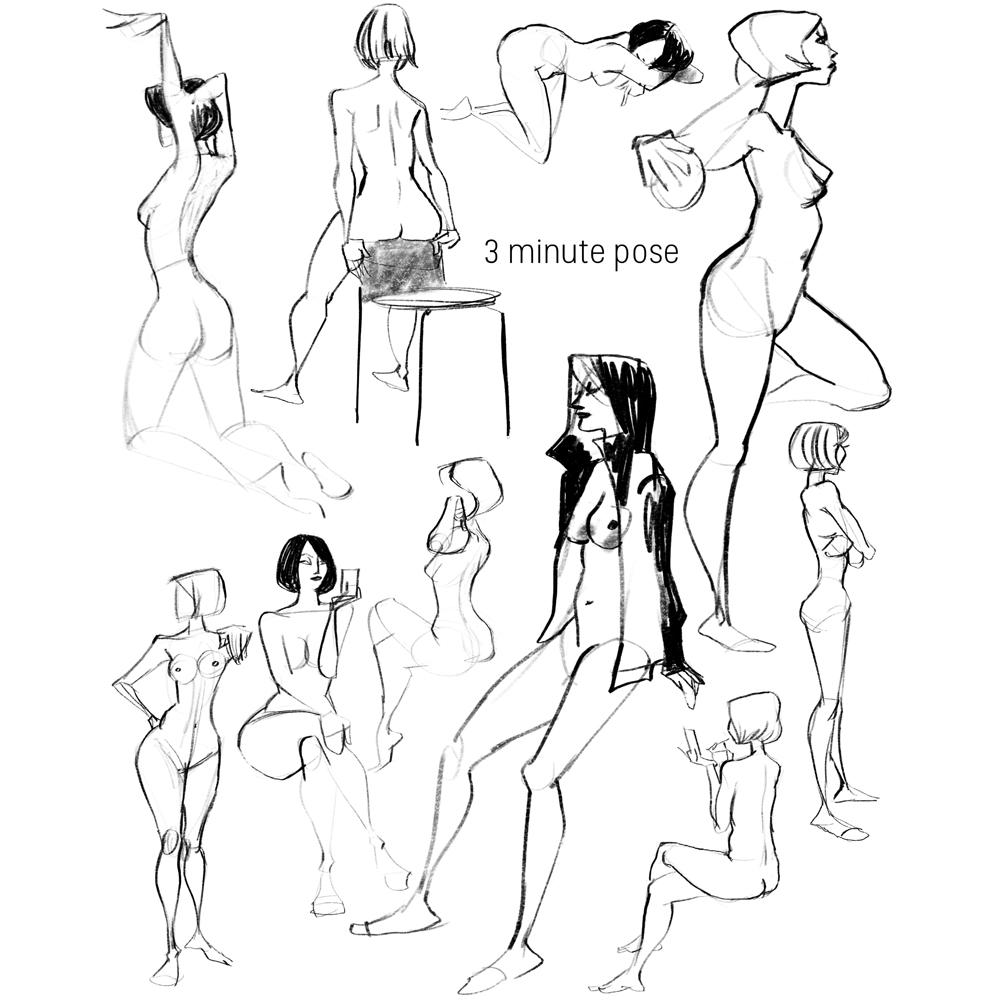 ヌード、クイックスケッチ、女性イラスト