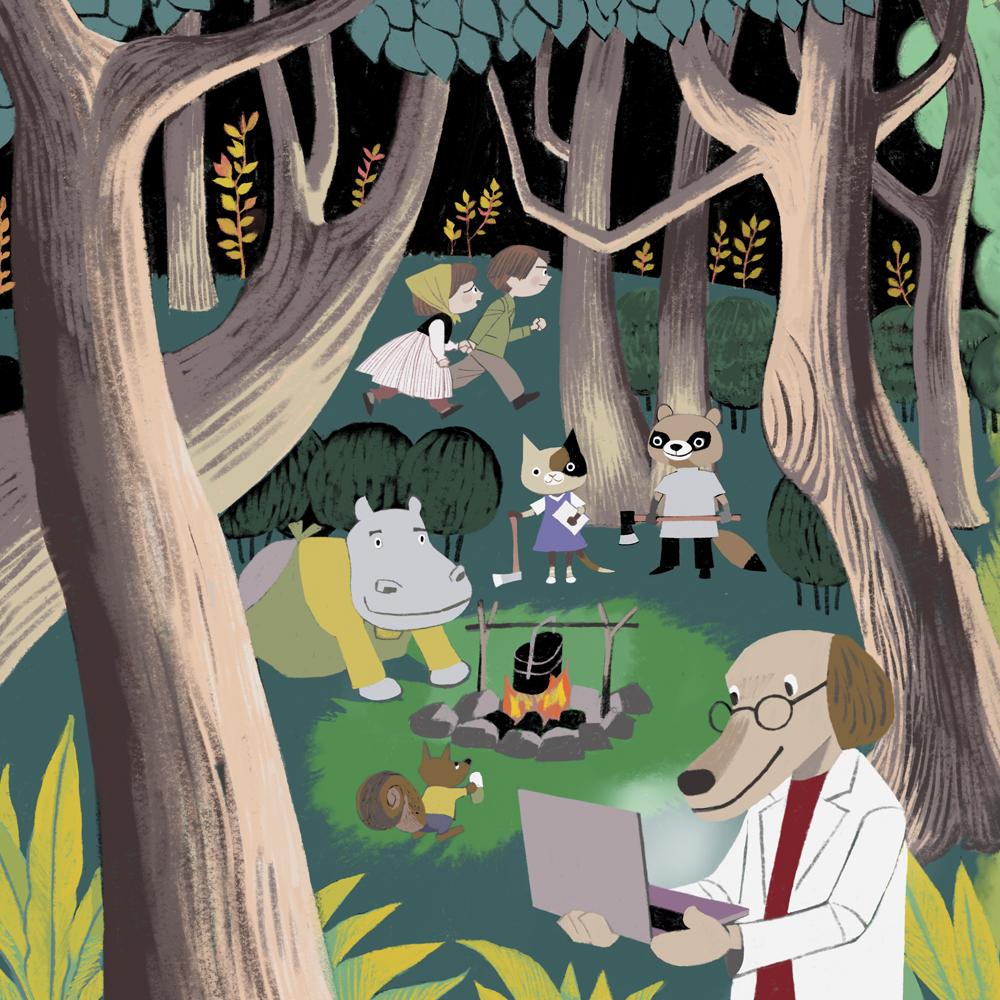 看護師イラスト、森、絵本、動物