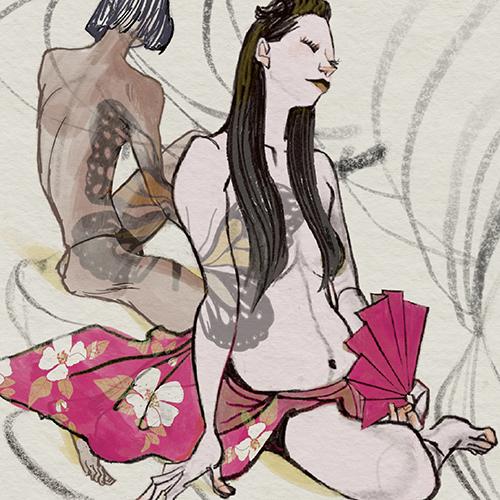 mako女セミヌードイラスト