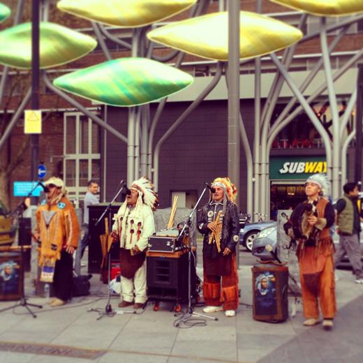 Busking - Native American @ Stratford station, London/ バスキング -  ネイティブ・アメリカン @ ストラトフォード駅