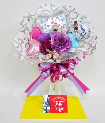 バースデーバルーンバンチ バンチ 花束 スナック花水仙