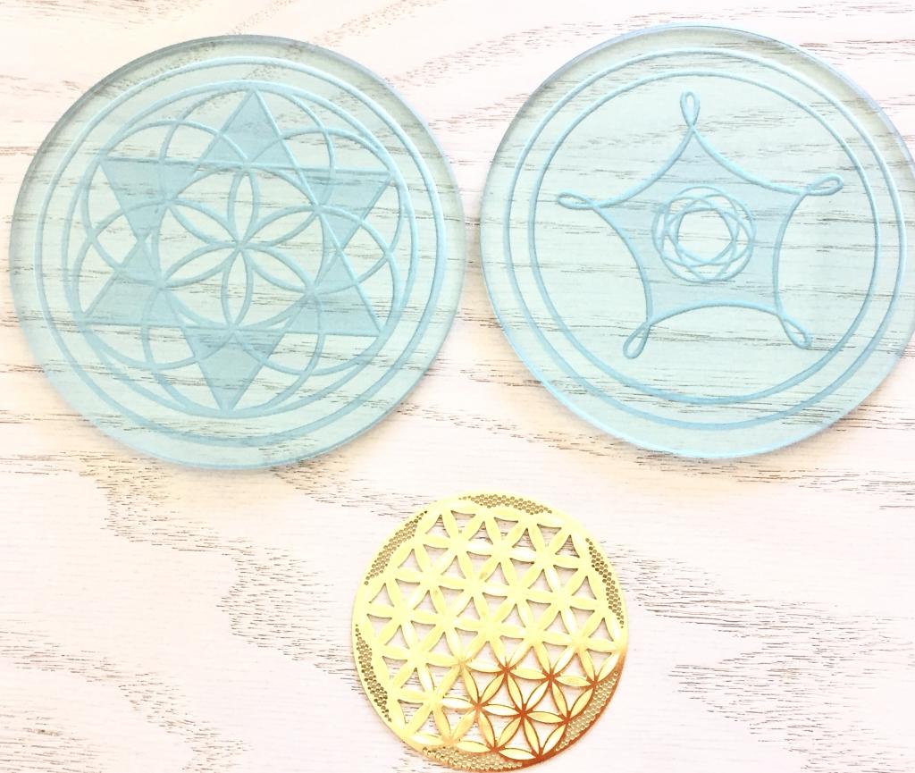 ガラス幾何学コースター