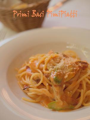 スペックとグリーンアスパラのスパゲティーニ