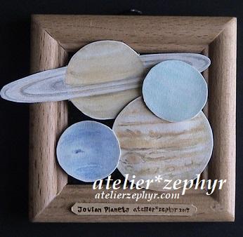 天体観測展出展作品 半立体作品木星型惑星