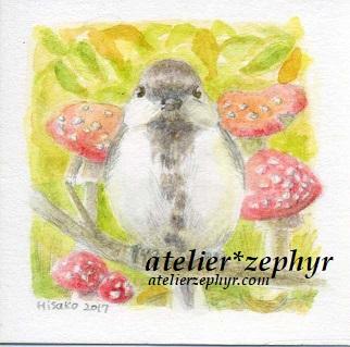 シジュウカラとベニテングタケ水彩色鉛筆原画