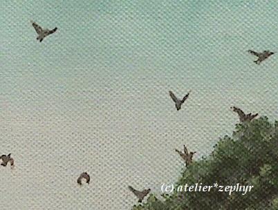 小宇宙のかけら 出展絵画作品一部分 鳥と樹木