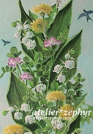 スズランと春の野草のキャンバス絵画一部分