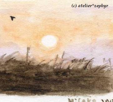 夕日と飛ぶ鳥 水彩色鉛筆画