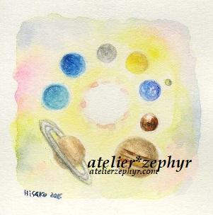 太陽系 水彩色鉛筆画