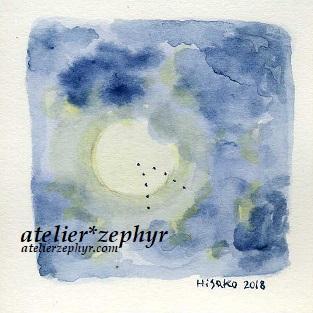 atelier*zephyr天体観測展用ミニ原画 雲間の月と渡り鳥