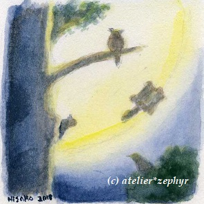 atelier*zephyr天体観測展出展ミニ原画 月と森の動物たち