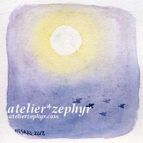 天体観測展Guignol atelier*zephyrミニ原画 おぼろ月夜