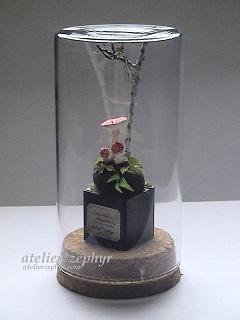 atelier*zephyrガラスボトル作品 ベニテングタケとシラカバ