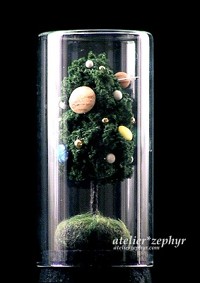 天体観測展 atelier*zephyrボトル作品 太陽系の木