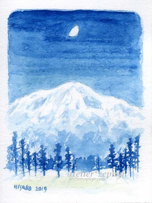 atelier*zephyrミニ原画 月と雪山