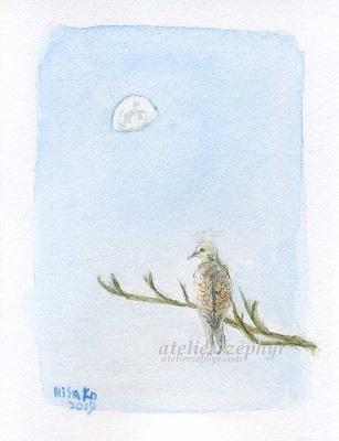atelier*zephyrミニ原画 キジバトと朝の月