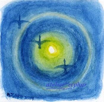 atelier*zephyrミニ原画 月暈と渡り鳥