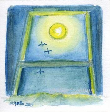 atelier*zephyrミニ原画 窓辺と月と渡り鳥